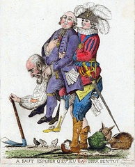 A symbolic image of three orders of feudal society in Europe prior to the French Revolution, which shows the rural third estate carrying the clergy and the nobility