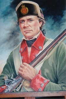 A likeness of Sgt. Jacob Dittrick, in Butler's Rangers uniform, by Canadian artist, Garth Dittrick