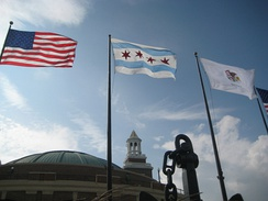 City of Chicago Flag, with the Star Spangled Banner and Illinois State Flag at its sides at Navy Pier