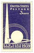 U.S. postage stamp commemorating the 1939 New York World's Fair, 1939