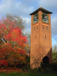 The University of Reading War Memorial clock tower, designed by Herbert Maryon, on the London Road Campus