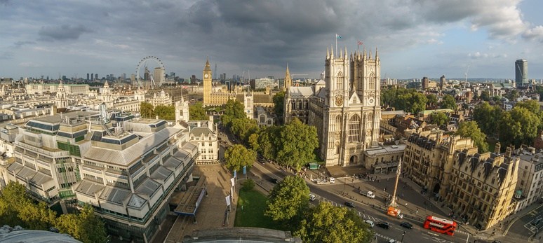 Panorama of Westminster taken from the roof of the Methodist Central Hall