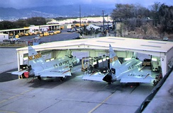 199th FIS F-102s in a nose dock at Hickam AFB, 1976