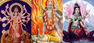 Shaktism is a Goddess-centric tradition of Hinduism. From left: Parvati/Durga, Kali and Lakshmi