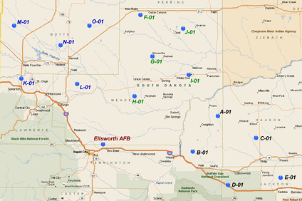LGM-30 Minuteman Missile Alert Facilities 66th MS (Black) 67th MS (Blue) 68th MS (Blue)