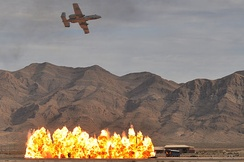 An Air Force A-10 demonstrating close air support at Nellis AFB