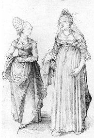 Albrecht Dürer's drawing contrasts a well turned out bourgeoise from Nuremberg (left) with her counterpart from Venice. The Venetian lady's high chopines make her look taller.