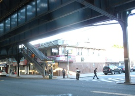 Southwest street stair on the southeast corner of Liberty Avenue and 109th Street