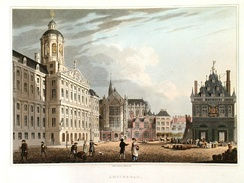 The Royal Palace, Nieuwe Kerk, and now demolished weigh house on Dam Square in 1814