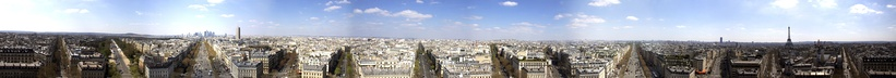Paris seen from the top of the Arc de triomphe
