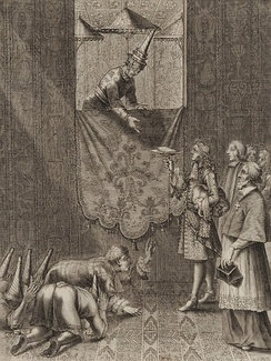 Mgr Louis Laneau of the Paris Foreign Missions Society (on the right, forefront)[29] was closely involved in the contacts with the Siamese king Narai. Here, the French ambassador Chevalier de Chaumont presents a letter from Louis XIV to King Narai in 1685.