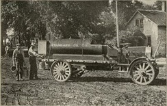 Avery truck with cast steel rim wheels used by Standard Oil Company, circa 1917.