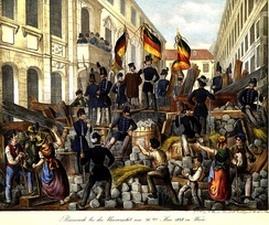 The revolutionary barricades in Vienna in May 1848