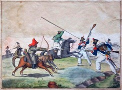 French soldiers in skirmish with Bashkirs and Cossacks in 1813