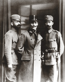 Dmytro Vitovsky, first commander of the Ukrainian Galician Army, flanked by two officers, 1918.