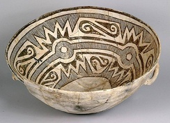 A ceramic bowl excavated from Pueblo Alto, dating from AD 1030 to 1200