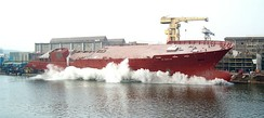A ship launching at the Northern Shipyard in Gdańsk, Poland