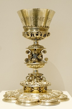 "Chalice with the inscription: ""Sanguinis meus vere est potus"" (i.e. 'My blood is drink indeed' (John 6:55, KJV)), made for the church St John the Baptist in Salinas, Spain."