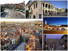 A collage of Verona, clockwise from top left to right: View of Piazza Bra from Verona Arena, House of Juliet, Verona Arena, Ponte Pietra at sunset, Statue of Madonna Verona's fountain in Piazza Erbe, view of Piazza Erbe from Lamberti Tower