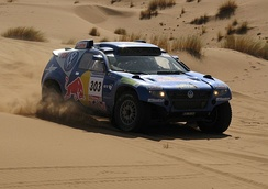 A VW Touareg during the Dakar Rally, which won the event in 2009, 2010 and 2011