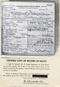 Smith's death certificate