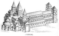 The abbey of Cluny as it would have looked in Bernard's time