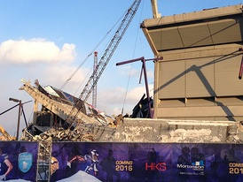 The Metrodome on February 26, 2014, with about half of its walls demolished. These are the north and west stands.