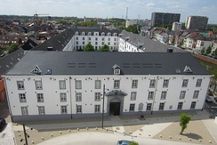 A modern view of Dossin Barracks in Mechelen which housed Mechelen transit camp during the occupation