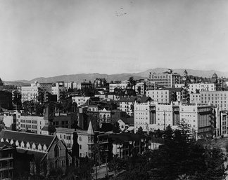 Photograph of Bunker Hill in 1900, looking northwest from today's Pershing Square