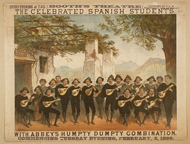The Spanish Students, who were first brought to the United States by Henry Eugene Abbey's firm in 1880.[3] They played bandurrias, but confusion in the United States led people to believe the instruments were mandolins.[4] This poster was for a Manhattan performance at the Booth's Theatre on the corner of 6th Avenue and 23rd Street in Manhattan.