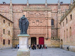 Façade of the University of Salamanca in which Francisco de Vitoria created the School of Salamanca and international law.