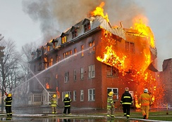 A building in Massueville (Quebec, Canada), engulfed by fire