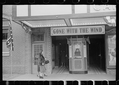 Flags of the Confederacy displayed at a movie house on Lincoln's birthday in Winchester, Virginia, in February 1940