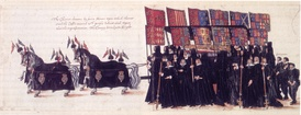 Heraldic banners at the funeral of Elizabeth I. The queen's casket is escorted by mourners bearing the banners of her ancestors' arms marshalled with the arms of their wives.[4]
