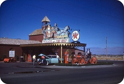 The Strip in the 1940s. Pictured is the gas station of the Hotel Last Frontier, the second hotel on the Strip.