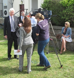 A Channel Television crew interview the Bailiff of Jersey
