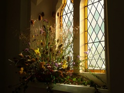 Harvest Festival flowers at a church in Shrewsbury, England