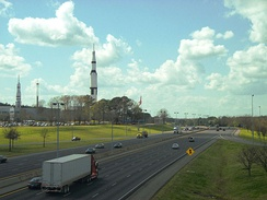 The Saturn V replica at the US Space and Rocket Center stands as a prominent landmark near mile 15 on Interstate 565.
