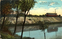 Interurban Line between Fort Worth and Dallas, Texas (postcard, circa 1902–1924)