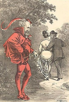 "A political cartoon by Joseph Keppler depicts Roscoe Conkling as Mephistopheles, as Rutherford B. Hayes strolls off with a woman labeled as ""Solid South"""