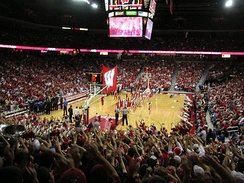 Men's basketball game as seen from the student section at the Kohl Center