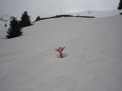 Warning sign about NATO cluster bombs near ski slopes at Kopaonik