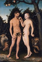 Adam and Eve in paradise (The Fall), Eve gives Adam the forbidden fruit, by Lucas Cranach the Elder, 1533