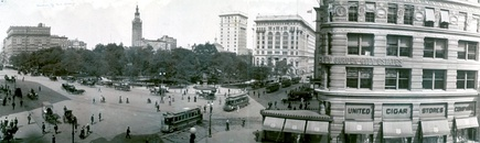 "The Square and Park in 1908;the ""cowcatcher"" and ""prow"" of the Flatiron Buildingare on the right"