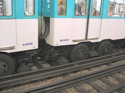 Paris Métro. The guiding rails of the rubber-tyred lines also function as current conductors. The horizontal current collector is between the pair of rubber wheels.