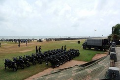 Military gathering on Galle Face Green in Colombo