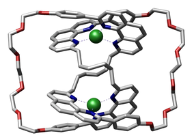 Crystal structure of a molecular trefoil knot with two copper(I) templating ions bound within it reported by Sauvage and coworkers in Recl. Trav. Chim. Pay. B., 1993, 427-428.