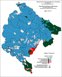 Religious structure of Montenegro by settlements, 2011