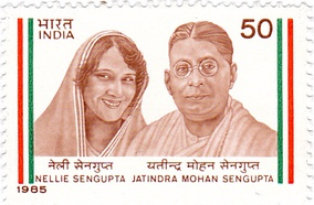 Nellie and Jatindra Mohan Sengupta on a 1985 stamp of India