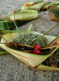 A canang, an offering of flowers, rice, and incense in woven coconut leaves from Bali, Indonesia